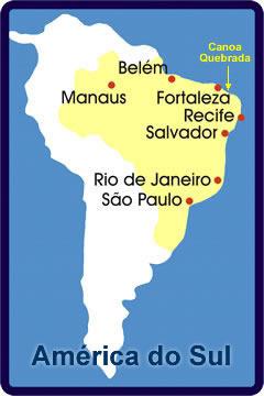 Localização de Canoa Quebrada em América do sul