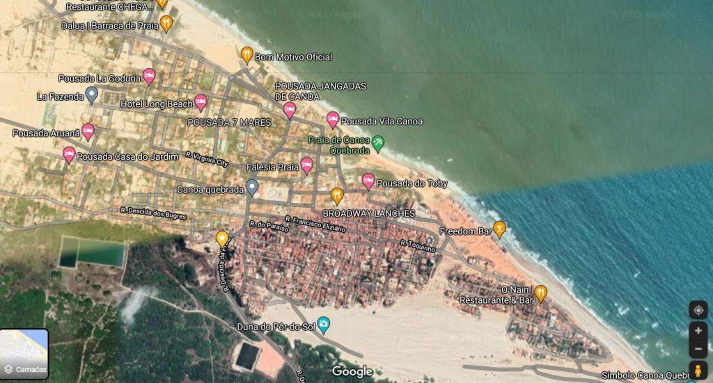 Imagem satelital de canoa quebrada