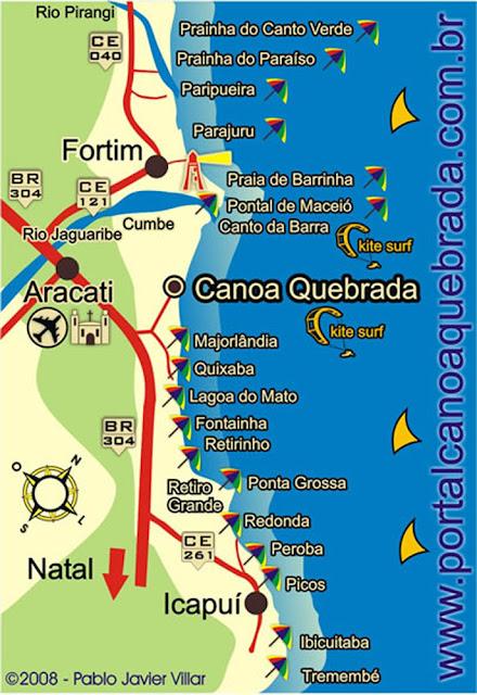 Mapa de Praias de Canoa Quebrada